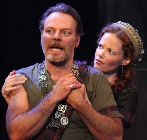Bo Foxworth as Macbeth and Ann Noble as Lady Macbeth in The Antaeus Company's production of Macbeth. Photo by Daniel Blinkoff