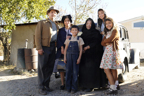 (from left to right) Benito Ramirez, Dolores Heredia, Luke Ganalon, Miriam Colon, Darrian Chavez, Julia Flores. Photo courtesy of Arenas Entertainment.