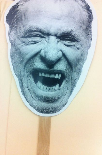 Favorite freebie was the head of Charles Bukowski in fan form. Thanks PEN! Photo: Ramona Pilar Gonzales