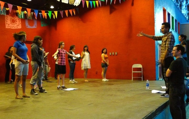 Francisco Garcia with the CalArts CAP students at Plaza de la Raza. Photo by Melissa Sullivan