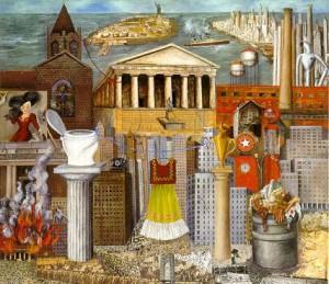 """Pintura de Frida Kahlo,  """"Mi Vestido Cuelga Alla"""" (1933), Coleccion FEMSA -  Inspiracion para los momentos de apertura y cierre de la obra."""