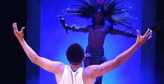 (foreground) Johnny Ortiz as Carlos Alvarado and Victor Yerba as Tezcatlipoca. Photo by Ed Krieger