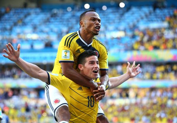 James Rodriguez, FIFA Colombia team-mates 2014 Winner of Adidas Golden Boot Award, for most goals scores - FIFA.com