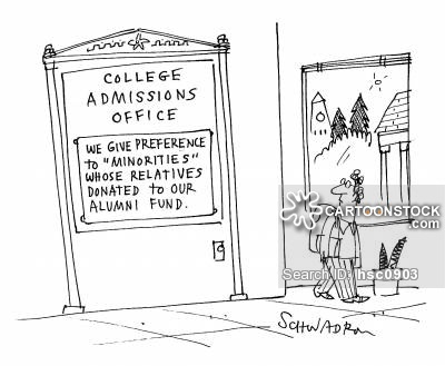 College admissions office: 'We give preference to 'minorities' whose parents donated to our alumni fund.'
