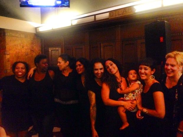 From Left to right: Kila Kitu, Sigrid Gilmer, Romi R. Dias, Ramona Gonzales, Patricia Zamorano, Jesse Bliss, Baby Orelia, Selene Santiago, Kristine Leach in Matriarch at Traxx, Union Station