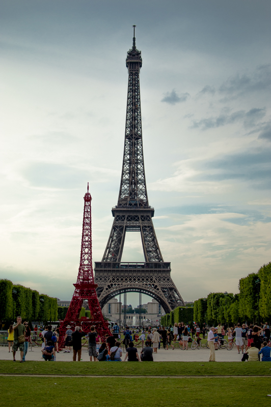 A French company built a small red replica of the Eiffel Tower in front of the real one. This is where I spent a lot of my time.