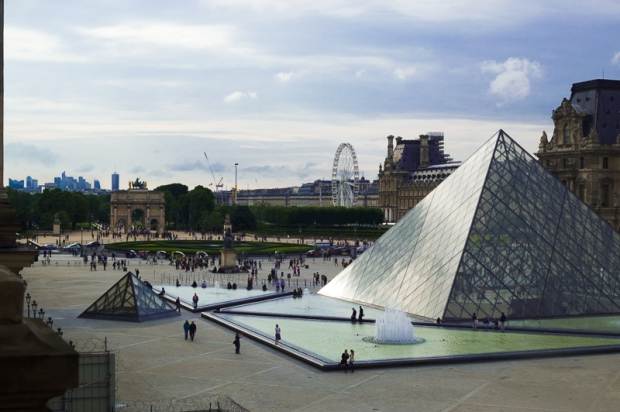 This photo was taken from inside the Louvre Museum. I wanted this exact angle and was very happy to have found it.