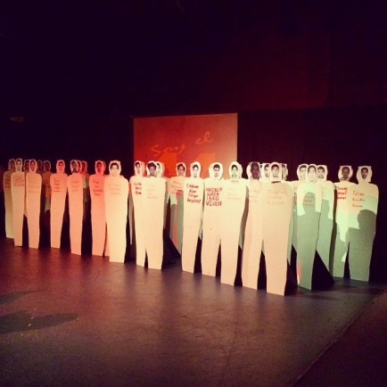 43 cardboard cutouts represent the fourty-three students murdered in Mexico during the production of Situación: Desaparecido at Teatro Frida Kahlo. Photo by Rosa Rosa Castañeda.